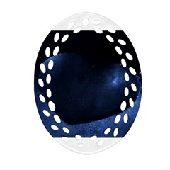 Blue Heart Collection Oval Filigree Ornament (2 Side)  by timelessartoncanvas