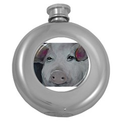 Piggy No  1 Round Hip Flask (5 Oz) by timelessartoncanvas