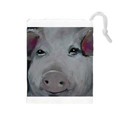 Piggy No  1 Drawstring Pouches (large)  by timelessartoncanvas