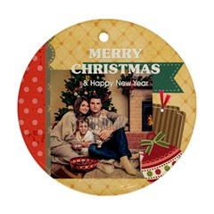 Xmas By Xmas   Round Ornament (two Sides)   Cndlwqwfidaq   Www Artscow Com Back