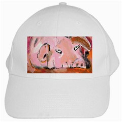 Piggy No 3 White Cap by timelessartoncanvas
