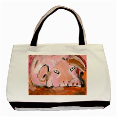 Piggy No 3 Basic Tote Bag (two Sides)  by timelessartoncanvas