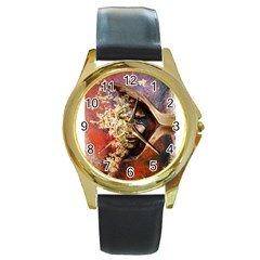 Red Mask Round Gold Metal Watches by timelessartoncanvas