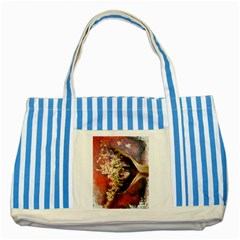 Red Mask Striped Blue Tote Bag  by timelessartoncanvas