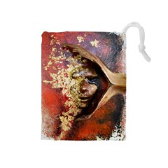Red Mask Drawstring Pouches (medium)  by timelessartoncanvas