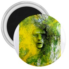 Green Mask 3  Magnets by timelessartoncanvas