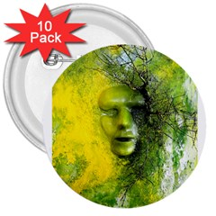 Green Mask 3  Buttons (10 Pack)  by timelessartoncanvas