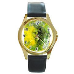 Green Mask Round Gold Metal Watches by timelessartoncanvas