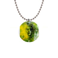 Green Mask Button Necklaces by timelessartoncanvas