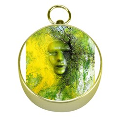 Green Mask Gold Compasses by timelessartoncanvas