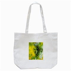 Green Mask Tote Bag (white)  by timelessartoncanvas
