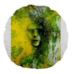 Green Mask Large 18  Premium Flano Round Cushions by timelessartoncanvas