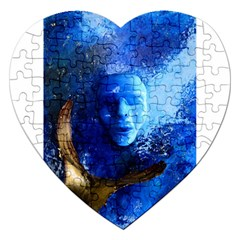Blue Mask Jigsaw Puzzle (heart) by timelessartoncanvas