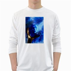 Blue Mask White Long Sleeve T Shirts by timelessartoncanvas