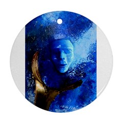 Blue Mask Round Ornament (two Sides)  by timelessartoncanvas