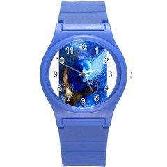 Blue Mask Round Plastic Sport Watch (s) by timelessartoncanvas