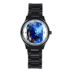 Blue Mask Stainless Steel Round Watches