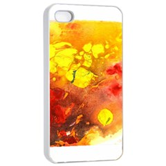 Fire, Lava Rock Apple Iphone 4/4s Seamless Case (white) by timelessartoncanvas