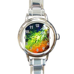 Abstract Landscape Round Italian Charm Watches
