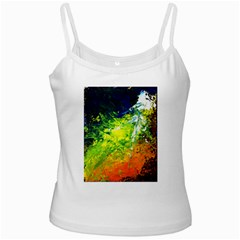 Abstract Landscape White Spaghetti Tanks by timelessartoncanvas