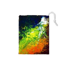 Abstract Landscape Drawstring Pouches (small)