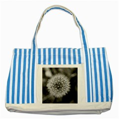 Modern Daffodil Seed Bloom Striped Blue Tote Bag  by timelessartoncanvas