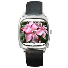 Pink Oleander Square Metal Watches by timelessartoncanvas