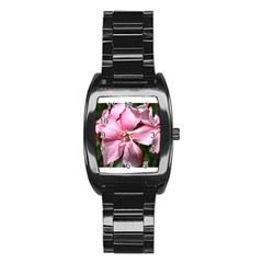 Pink Oleander Stainless Steel Barrel Watch by timelessartoncanvas