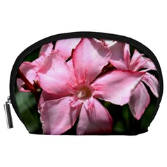Pink Oleander Accessory Pouches (large)  by timelessartoncanvas
