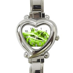 Green Frog Heart Italian Charm Watch by timelessartoncanvas