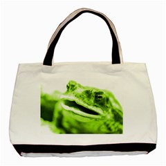 Green Frog Basic Tote Bag (two Sides)  by timelessartoncanvas