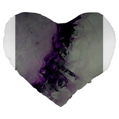 The Power Of Purple Large 19  Premium Flano Heart Shape Cushions by timelessartoncanvas