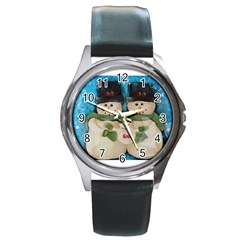 Snowman Family Round Metal Watches by timelessartoncanvas