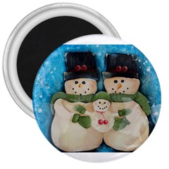 Snowman Family 3  Magnets by timelessartoncanvas