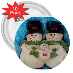 Snowman Family 3  Buttons (10 Pack)  by timelessartoncanvas