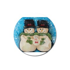 Snowman Family Magnet 3  (round) by timelessartoncanvas