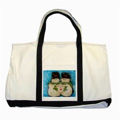 Snowman Family Two Tone Tote Bag  by timelessartoncanvas