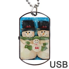 Snowman Family Dog Tag USB Flash (Two Sides)  by timelessartoncanvas