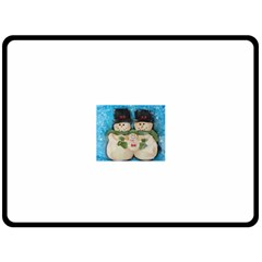 Snowman Family Double Sided Fleece Blanket (large)  by timelessartoncanvas