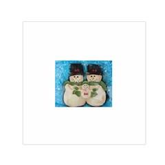 Snowman Family Small Satin Scarf (square)