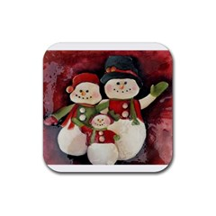 Snowman Family No  2 Rubber Square Coaster (4 Pack)  by timelessartoncanvas