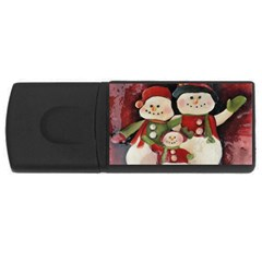 Snowman Family No  2 Usb Flash Drive Rectangular (4 Gb)  by timelessartoncanvas