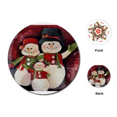 Snowman Family No  2 Playing Cards (round)  by timelessartoncanvas