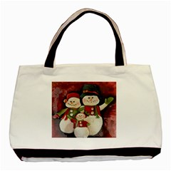 Snowman Family No  2 Basic Tote Bag  by timelessartoncanvas