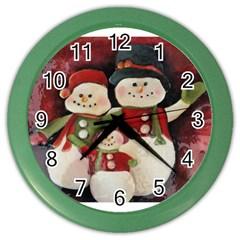 Snowman Family No  2 Color Wall Clocks by timelessartoncanvas
