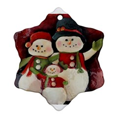 Snowman Family No  2 Snowflake Ornament (2 Side)