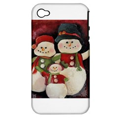 Snowman Family No  2 Apple Iphone 4/4s Hardshell Case (pc+silicone)
