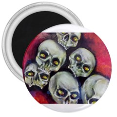 Halloween Skulls No 1 3  Magnets by timelessartoncanvas