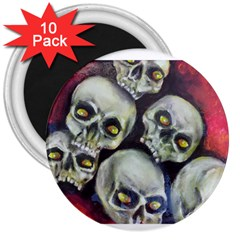Halloween Skulls No 1 3  Magnets (10 Pack)  by timelessartoncanvas