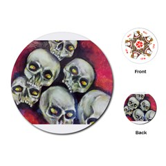Halloween Skulls No 1 Playing Cards (round)  by timelessartoncanvas